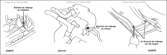 Toyota mr2 sw20 ouvrir les robinets boulons pour remplacement ldr